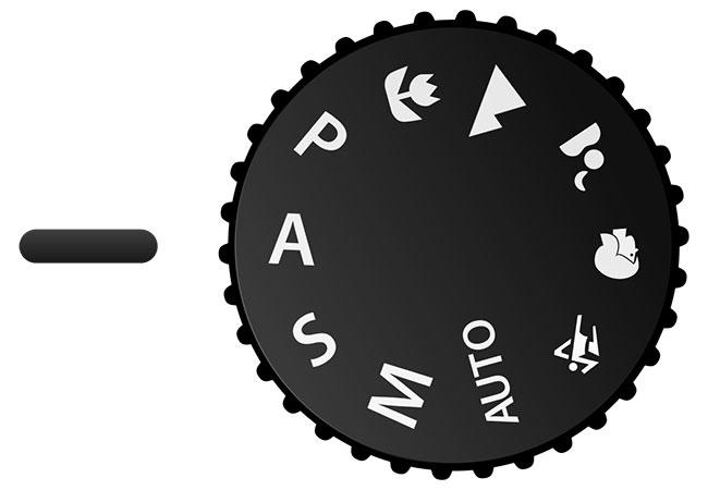 دکمهٔ انتخاب حالت تقدم دیافراگم در دوربینهای شرکت نیکون.برای انتخاب حالت تقدم دیافراگم، باید زبانه بر روی A قرار گیرد.